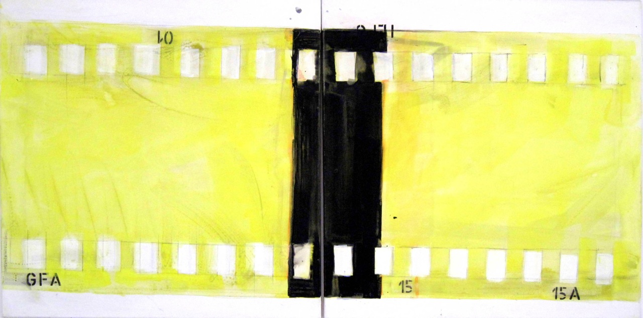 """Stummfilm"" Acryl auf Leinwand, 100 x 200 cm"